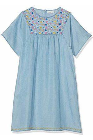 Name it Girls' NKFFIBRITT SS Dress Blau Bonnet