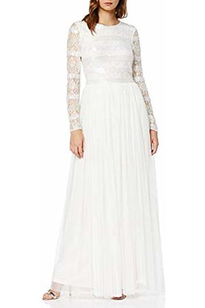Frock and Frill Women's Gardeina Stripe Embellished Long Sleeve Maxi Party Dress, ( #Ffffff)