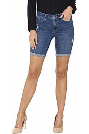 Vero Moda Women's Vmseven MR Slim DEST Long FOLD Short Mix Bermuda (Medium Denim )