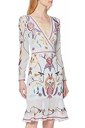 Frock and Frill Women's Flower Embroidered Dress with wrap Front Party (Skyway #000080)