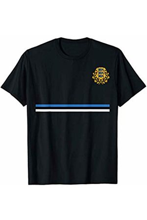 Estonian Sporty Flag Stripe and Coat of Arms Design T-Shirt