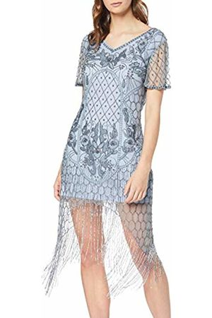 Frock and Frill Women's Fantasia Flapper Style Embellished Cap Sleeve Dress Party (Alloy #D3d3d3)