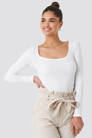 NA-KD Women Tops - Deep Round Neck Ribbed Top