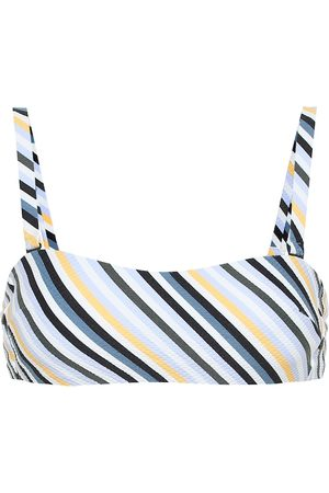 ASCENO Striped wrap bandeau bikini top