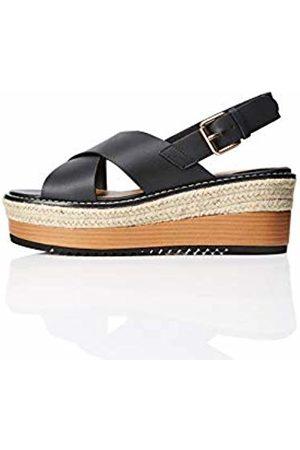 FIND Crossover Leather Platform Open Toe Sandals