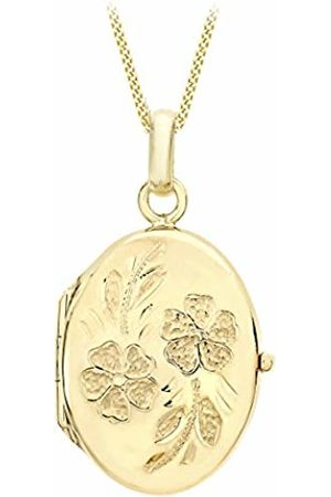 Carissima Gold 9ct Rose Large Oval Daisy Lock Pendant on Curb Chain Necklace of 46cm
