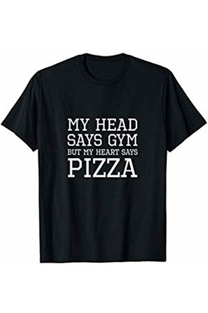 Wicked Tees | Novelty Apparel My Head Says Gym But My Heart Says Pizza - Cool Funny Shirt T-Shirt