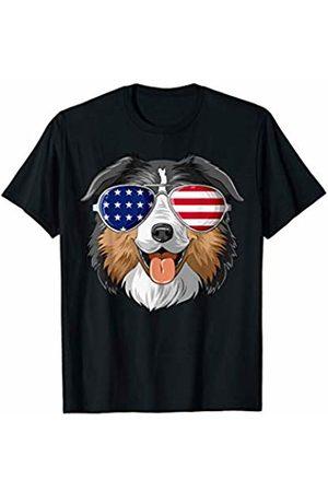 Australian Shepherd World Patriotic Australian Shepherd American Flag Glasses 4th July T-Shirt