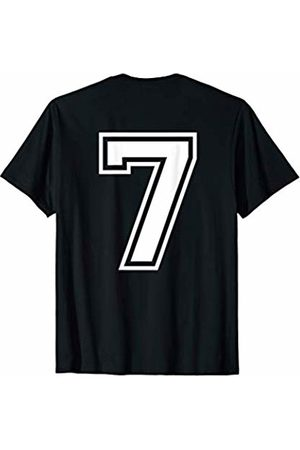 Big Numbers on Back Fantasy Team Tees #7 Sports Fan Player Game Winner Lucky Outline Number Back T-Shirt