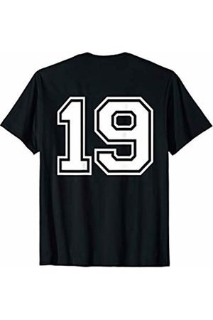 Big Numbers on Back Fantasy Team Tees #19 Sports Fan Player Game Winner Lucky Outline Number Back T-Shirt