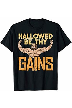 BoredKoalas Funny Gym Clothing & Workout Clothes Hallowed Be Thy Gains Jesus Funny Workout Gym Fit Men Muscle T-Shirt