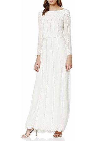 Frock and Frill Women's Garnet Scalloped Bodice Embellished Maxi Party Dress, ( #Ffffff)