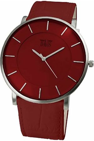Davis 0912 Unisex Watch with Extra Thin Dial and Leather Bracelet