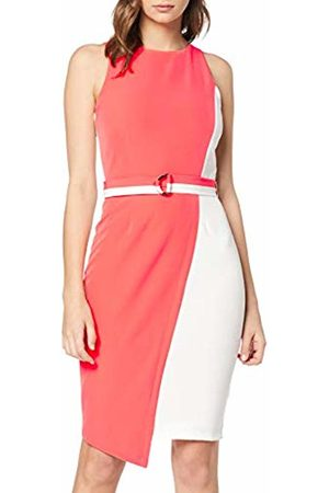 Paper Dolls Women's Coral Belted Dress Pencil Sleeveless Dress