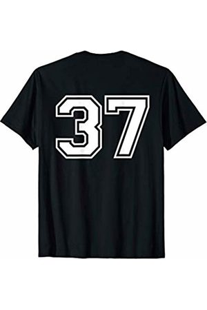 Big Numbers on Back Fantasy Team Tees #37 Sports Fan Player Game Winner Lucky Outline Number Back T-Shirt