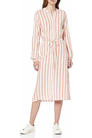 Vila Women's Viharper L/s Midi Shirt Dress (Emberglow Stripes: Cloud Dancer)