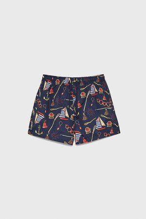 Zara Nautical print swimming trunks