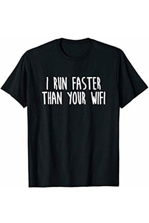 Gym apparel by Aaron I Run Faster Than Your Wifi Funny Running apparel T-Shirt