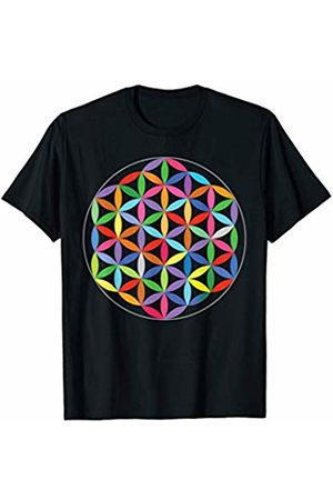Yoga Apparel designsanddesigns Flower of Life Sacred Geometry Symbol Yoga Meditation Colors T-Shirt