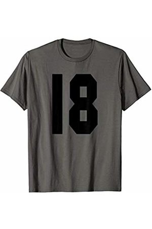 Rec League Team Sports Number T-Shirts # 18 Team Sports Jersey Front & Back Number Player Fan T-Shirt