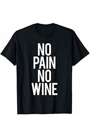 GYMCO Workout T-Shirts Funny No Pain No Wine Gym Saying Fitness Workout Running T-Shirt