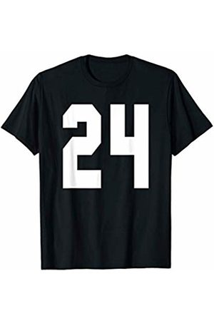 Rec League Team Sports Number T-Shirts # 24 Team Sports Jersey Front & Back Number Player Fan T-Shirt