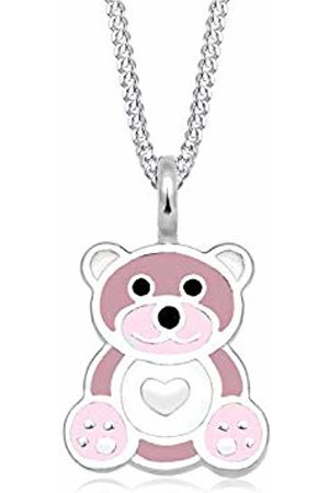 Elli Children's 925 Sterling Silver Girls Teddy Heart Cute Pastel Rose Pendant with Necklace of Length 36 cm
