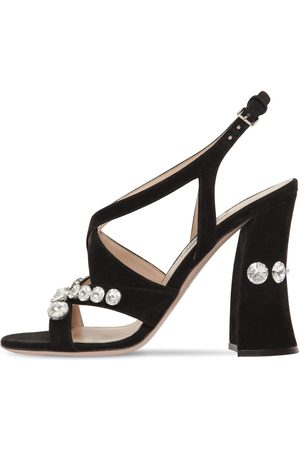 Miu Miu 105mm Embellished Suede Sandals