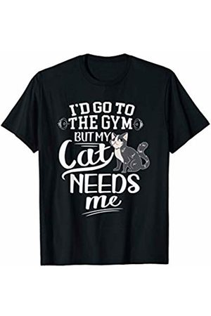 Modern Tees Gym Tshirts Funny Cat T-shirt I'd Go To The Gym But My Cat Needs Me T-Shirt
