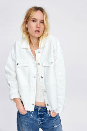 Zara Denim jean jacket with frayed hems