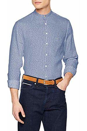 Fynch-Hatton Men's Soft Solid Linen Stand Up Collar, 1/1 Sleeve Casual Shirt
