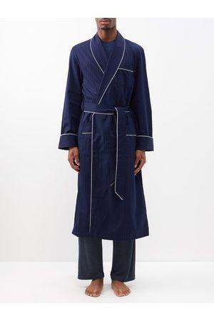 DEREK ROSE Men Bathrobes - Polka-dot Jacquard-stripe Cotton Robe - Mens - Navy