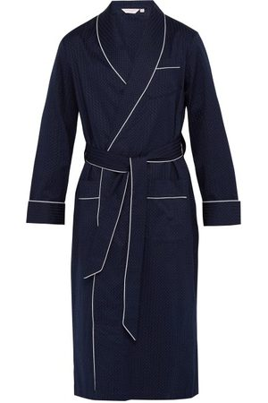 DEREK ROSE Polka-dot Jacquard-stripe Cotton Robe - Mens - Navy