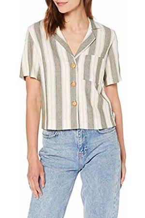 Miss Selfridge Women's Khaki Linen Stripe Print Shirt Blouse, 070