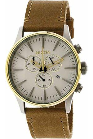 Nixon Mens Chronograph Quartz Watch with Leather Strap A4052548