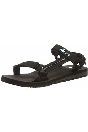 LICO Unisex Adults' Karibik V T-Bar Sandals, Schwarz/Türkis