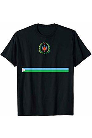 Djibouti National Pride Designs Sports-style Flag and Emblem Design of Djibouti T-Shirt