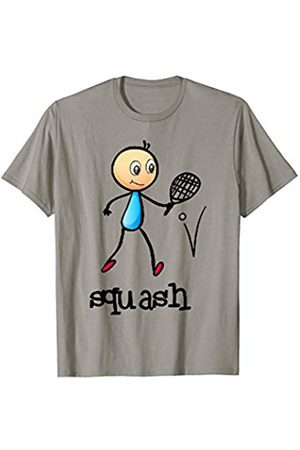 Dibba Designs Squash Stickman Sports Ball Racket Workout Fitness T-Shirt