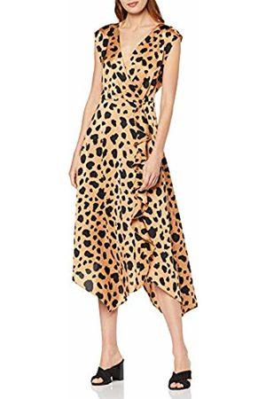 warehouse Women's Cowl Back Satin Animal Print Party Dress, ( 95)