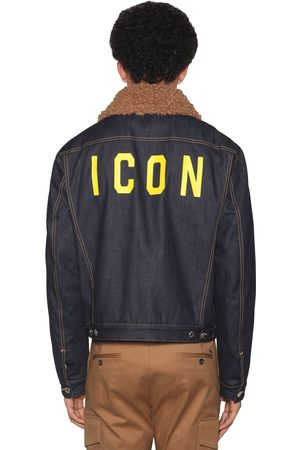 Dsquared2 Men Denim Jackets - Icon Print Patchwork Cotton Denim Jacket