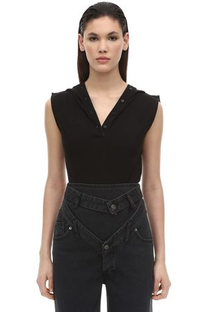 Y / PROJECT Sleeveless Cotton Jersey Polo Bodysuit