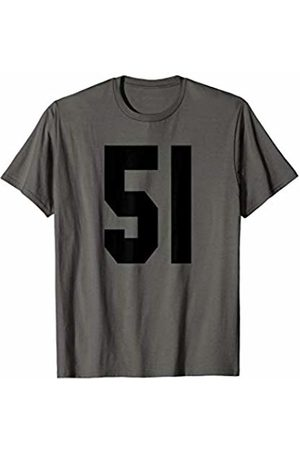 Rec League Team Sports Number T-Shirts # 51 Team Sports Jersey Front & Back Number Player Fan T-Shirt