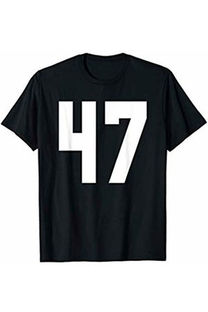Rec League Team Sports Number T-Shirts # 47 Team Sports Jersey Front & Back Number Player Fan T-Shirt