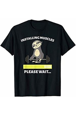 Happy Fitness Apparel Installing Muscles Sloth Weight Lifting Fitness Motivation T-Shirt