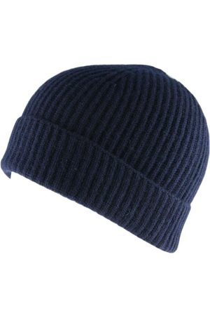 Black Navy Cashmere Beanie Hat