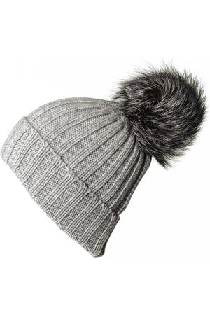 Black Cashmere Fur Pom Pom Hat