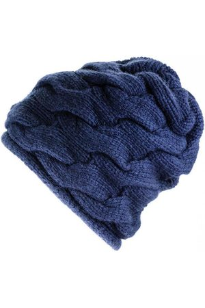 Black Chunky Cable Knit Navy Cashmere Beanie