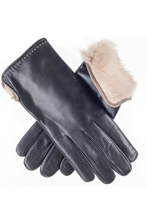 Black And Cappuccino Rabbit Fur Lined Leather Gloves