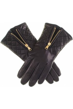 Black Gloves - Leather Quilted Gloves with Cashmere Lining