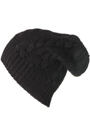 Black Cable Knit Cashmere Slouch Beanie